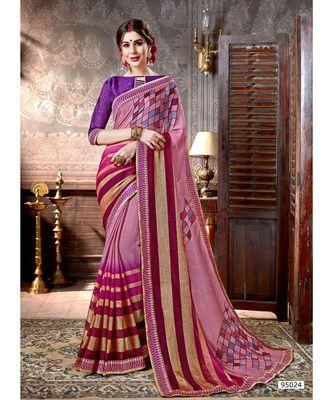Pink Printed Viscose Rayon Saree With Blouse