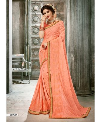 Peach Woven Georgette Saree With Blouse