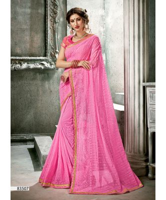 pink woven georgette saree with blouse