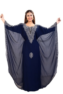 Royal Blue Hand Embroidered Georgette Jalabiya