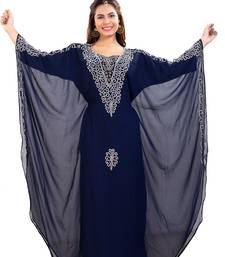 Royal Blue Hand Embroidered Georgette Jalabiya