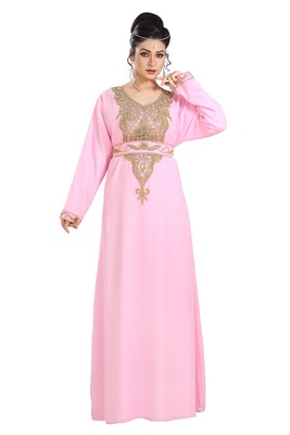 Baby Pink Hand Embroidered Georgette Dubai Kaftan