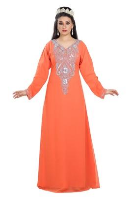 Orange Hand Embroidered Georgette Kurdish Dress