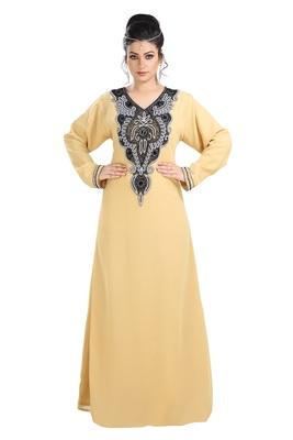 Beige Hand Embroidered Georgette Jasmine Designer Gown