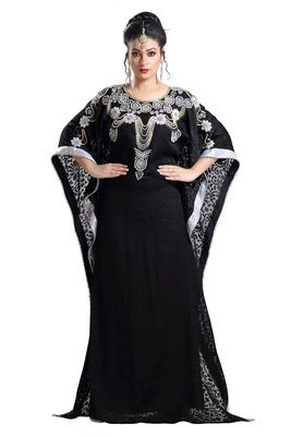 Black Hand Embroidered Braso African Kaftan