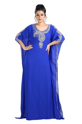 Royal Blue Hand Embroidered Georgette Luxe Kaftan