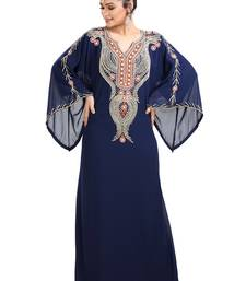 Navy Blue Hand Embroidered Georgette Henna Party Gown