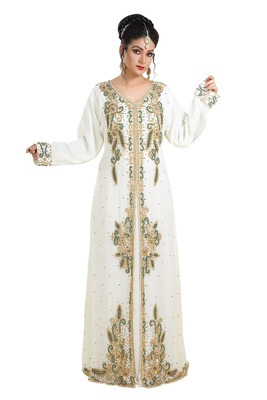 Cream Hand Embroidered Georgette French Soiree Robe