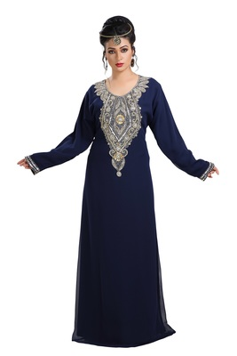 Navy Blue Hand Embroidered Georgette Haute Coutre Designer Abaya