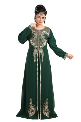 Bottle Green Hand Embroidered Georgette Traditional Kaftan