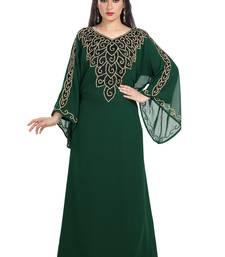 Bottle Green Hand Embroidered Georgette Kurdish Dress