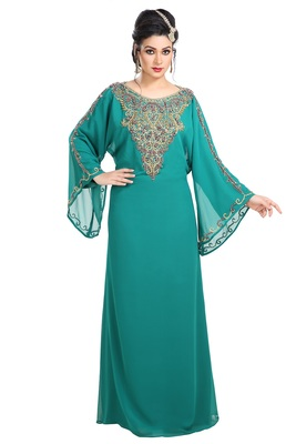 Dark Phirozy Hand Embroidered Georgette Maghribi Kaftan
