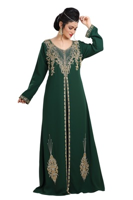 Bottle Green Hand Embroidered Georgette Henna Party Dress