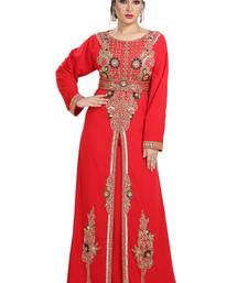 Red Hand Embroidered Georgette Traditional Kaftan