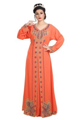 Orange Hand Embroidered Georgette Kurdish Dress