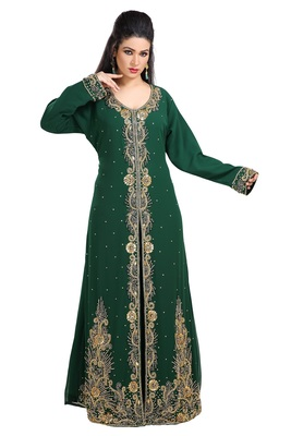 Bottle Green Hand Embroidered Georgette Khaleeji Thobe