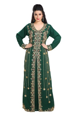 Bottle Green Hand Embroidered Georgette Arab Princess Wedding Gown