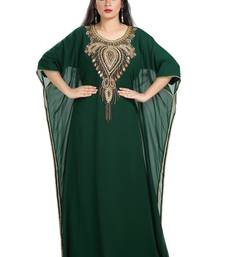 Bottle Green Hand Embroidered Georgette Moroccan Kaftan