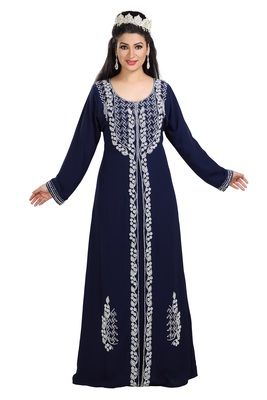 Navy Blue Hand Embroidered Georgette Traditional Algerian Kaftan