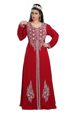 Maroon Hand Embroidered Georgette Prom Dress