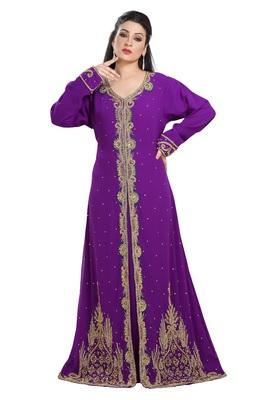 Purple Hand Embroidered Georgette Kurdish Dress