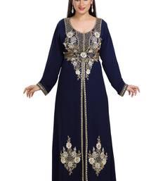 Dark Navy Blue Hand Embroidered Georgette Maghribi Kaftan