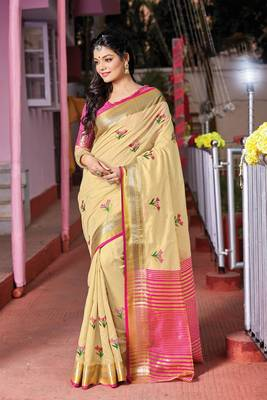 Cream embroidered cotton saree with blouse