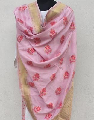 Pink  printed Viscose Dupatta