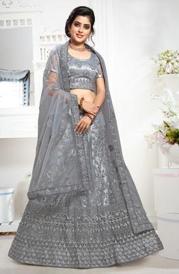 Grey cord net semi stitched lehenga