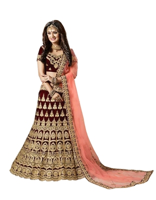 maroon embroidered satin lehenga-choli