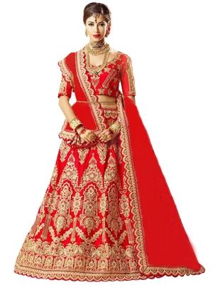 red embroidered satin lehenga-choli