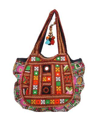 Vintage Handmade cotton Silk Embroried asian art Women Hand Bag