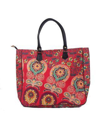 Indian Handmade cotton Red Mandala Sholder Bag