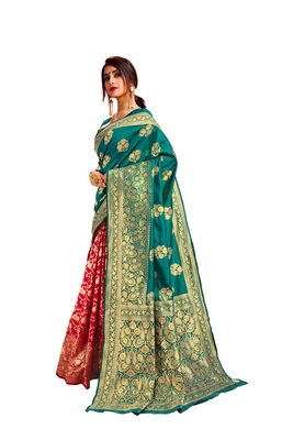 Multicolor woven poly cotton saree with blouse
