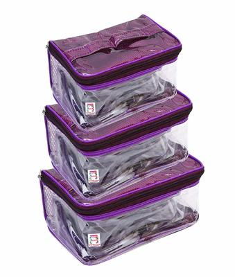 atorakushon® Net Purple Multipurpose Make Up Jewellery Organizer Set of 3