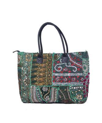 Indian Handmade cotton Green Khambadiya Sholder Bag