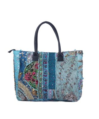 Indian Handmade cotton Sky Blue Khambadiya Sholder Bag