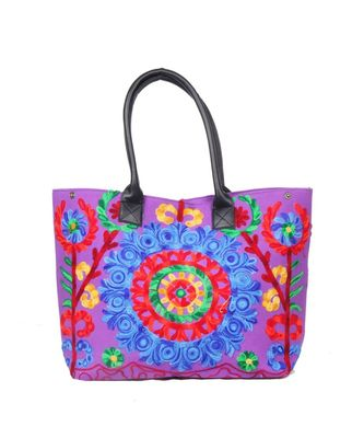 Vintage Handmade Canvas cotton Embrodiery Women Hand Bag