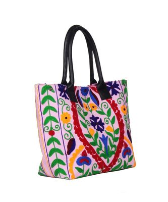 Vintage Handmade Canvas cotton Embrodiery Women Hand Bag