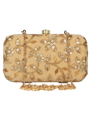 Anekaant Tulle Embroidered Velvet Clutch Beige &Gold