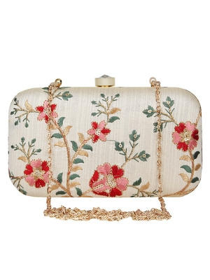 Anekaant Tulle Embroidered Faux Silk Clutch Natural & Multi