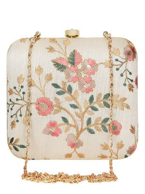 Anekaant Vista Embroidered Faux Silk Clutch Beige & Multi
