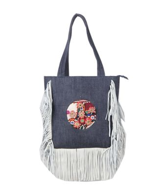 Vintage Handmade hard canvas Leather Fring asian art Women Hand Bag