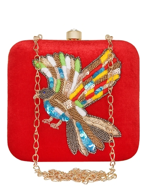 Anekaant Vista Embroidered Velvet Clutch Red & Multi