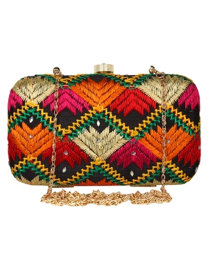 Anekaant Phulkari Embroidered Cotton Clutch Black & Multi