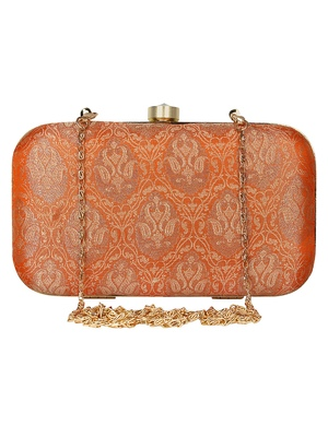 Anekaant Tulle Printed Silk Clutch Orange & Gold