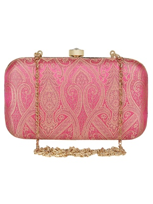 Anekaant Tulle Printed Silk Clutch Pink & Gold
