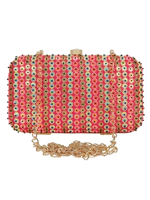 Anekaant Adorn Embellished Faux Silk Clutch Pink & Multi