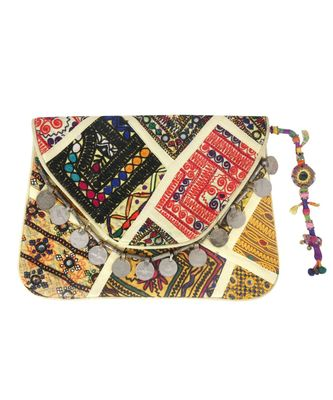 Women Multi-Colour cotton Clutch Bag