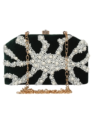 Anekaant Spiffy Embellished Velvet Clutch Dark Green & White